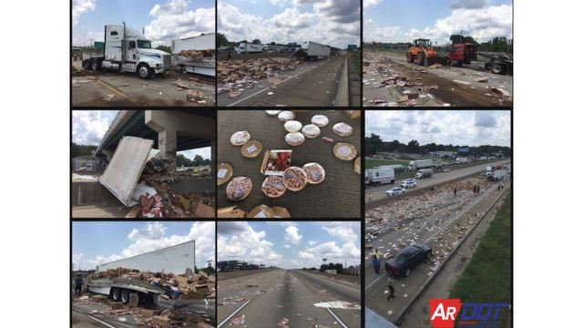 Frozen pizzas cover interstate after tractor trailer accident