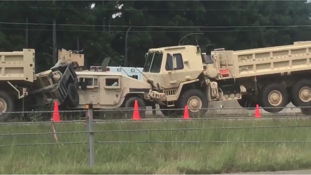Chain Reaction Accident Stops Arkansas National Guard Convoy in Cabot