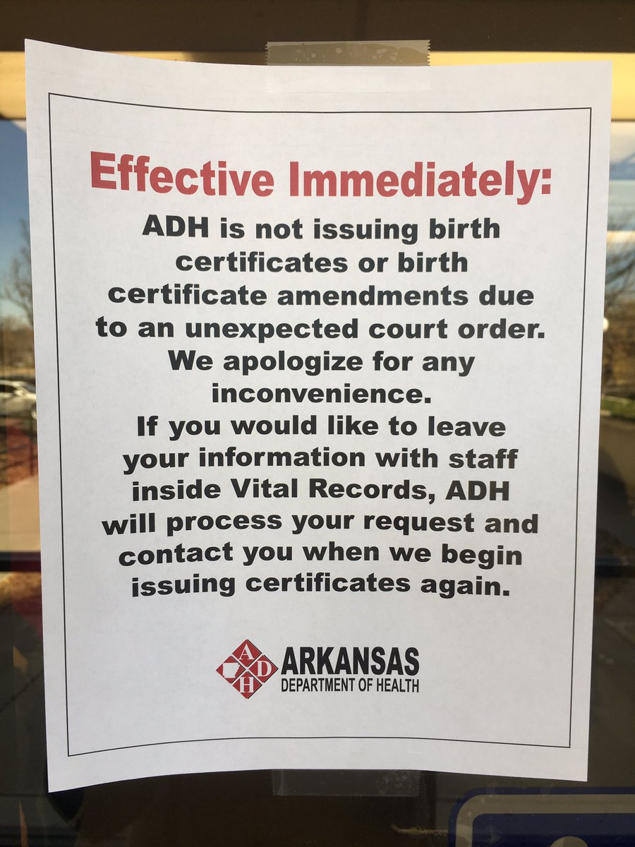 Update ar birth certificate filings resume arkansasmatters official notice posted earlier friday at the arkansas department of health xflitez Choice Image