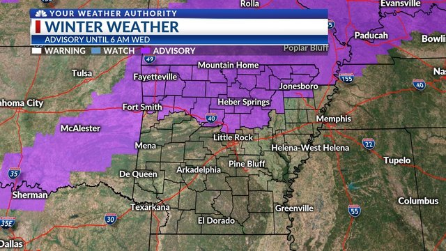 Winter weather advisories in Texas, Oklahoma and Arkansas