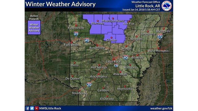 Winter Weather Advisory Issued for Northern Arkansas